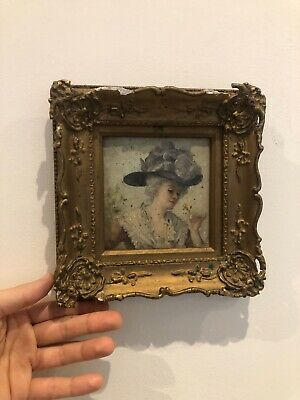 Really Old PAINTING 19th Century French? Oil On Board Lady Holding Flowers