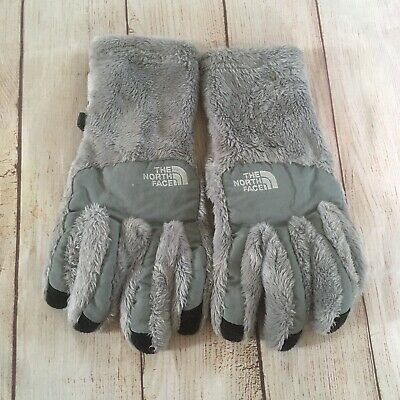 The North Face Gray Fuzzy Faux Fur Gloves Women's Size Medium