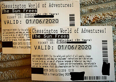 2 X Chessington World of Adventures tickets for 01 June 2020