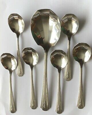 ART DECO DORCHESTER PLATE 7 x SHELL FRUIT SPOONS - 1x LARGE 6 x SMALL c1930s