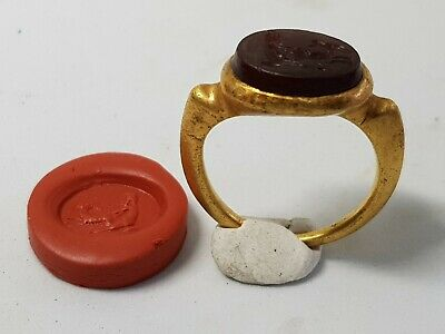 Greko- Roman Gold Ring with Pan Gemstone 1st century BC- 1st century AD
