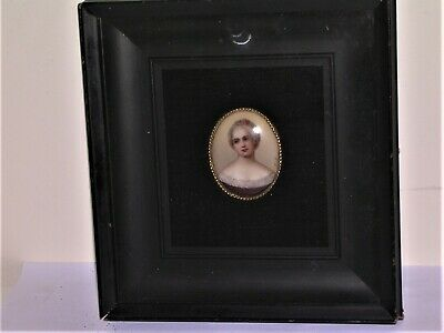 Miniature Portrait on Porcelain With Beaded Brass Surround In Shadow Box Frame