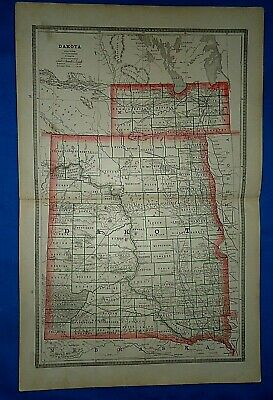 Vintage 1884 MAP ~ DAKOTA TERRITORY w/ INDIAN RESERVATIONS Old Antique Original
