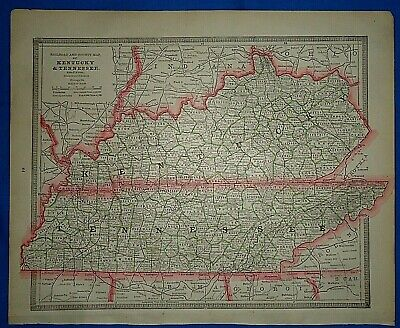 Vintage 1884 MAP ~ KENTUCKY - TENNESSEE ~ Old Antique Original Atlas Map