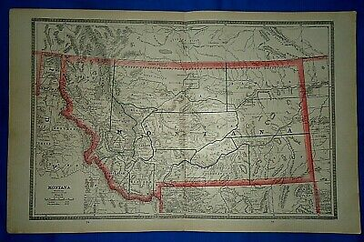 Vintage 1884 MAP MONTANA TERRITORY w/ INDIAN RESERVATIONS Old Antique Original