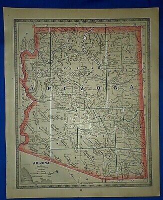 Vintage 1884 MAP ARIZONA TERRITORY w/ PRESCOTT as CAPITOL Old Antique Original