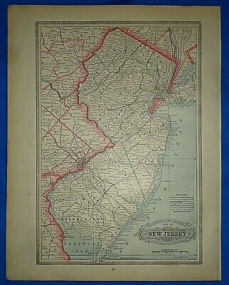 Vintage 1884 MAP ~ NEW JERSEY RAILROAD & COUNTY Old Antique Original Atlas Map