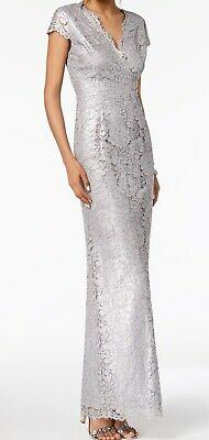 Adrianna Papell Womens Dress Silver Size 10 Sheath Metallic Floral Lace $229 367