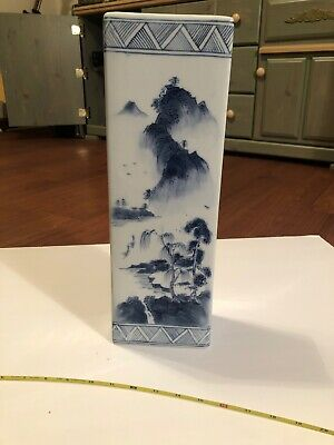 19th Or 20th Century Asian Chinese Hat Stand Blue And White Landscape Porcelain