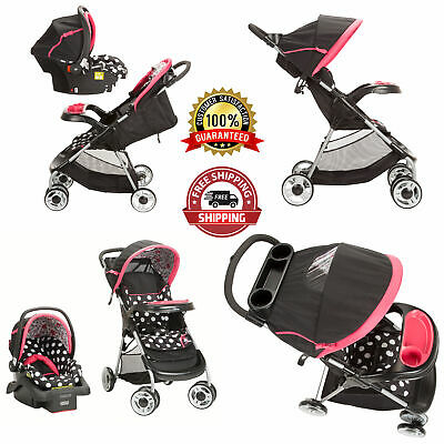Travel System Baby Girl Lightweight Infant Reclining Seat Stroller Combo Black