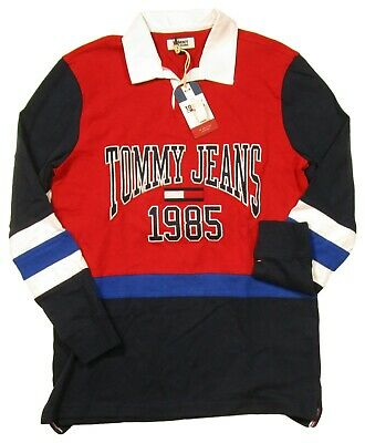 Tommy Hilfiger Jeans Men's Red/Navy Logo Essential Rugby Long Sleeve Polo Shirt