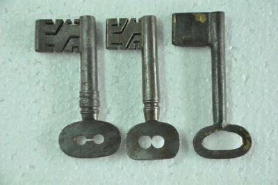 3 Pc Old Iron Handcrafted Different Big Victorian Keys , Nice Patina