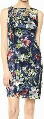 Tahari by ASL Women Dress Blue 8P Petite Floral Embroidered Mesh-Yoke $149 105