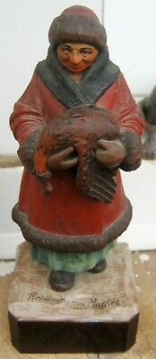 """Signed P.caron Carved Wood Figural """"Returning From Market"""" Statue 7.75"""" Tall"""