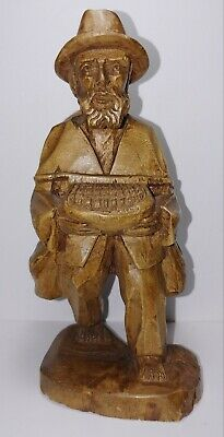 Vintage Hand Carved Wooden Man With Basket and Goods On His Back