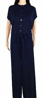 Lauren By Ralph Lauren Womens Jumpsuit Blue Size 1X Plus Belted Ruffle $165 046