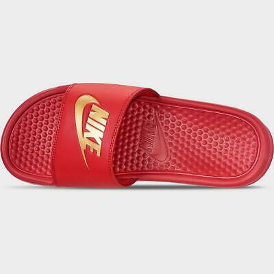 Nike Benassi JDI 343880 602 Red Gold Letters Mens Slides Sandals Size 10