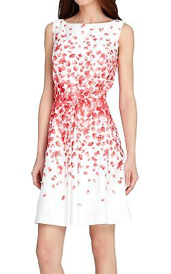 Tahari by ASL Womens Dress White Red Size 10P Petite Floral Fit & Flare $138 454