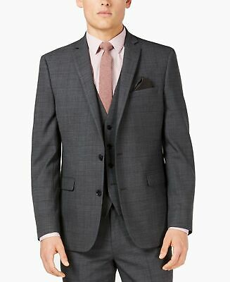 Bar III Mens Blazer Dark Gray Size 40 Long Slim Fit Plaid Two Button $165 216