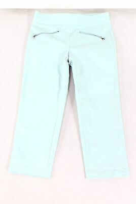 Emaline Womens Pants Teal Blue Size 4 Zipper-Pocket Cropped Stretch $50- 135