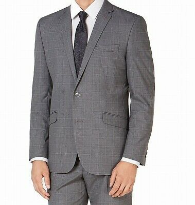 Kenneth Cole Reaction Mens Suit Charcoal Gray Size 38 Two Button Plaid $139- 198