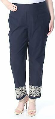 Charter Club Womens Pants Blue Size 16W Plus Embroidered Slim Stretch $69 230