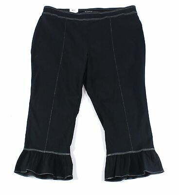 INC Womens Pants Ink Black Size 18W Plus Bell-Cuff Mid-Rise Stretch $69 155