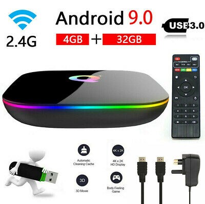 Q-BOX Q+ Q Plus Smart TV Box 4GB+32GB Amlogic Android 9.0 2.4G WIFI Media Player