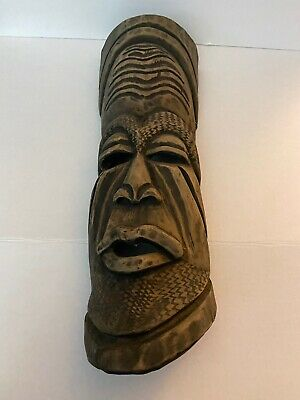 """Vintage Hand Carved Wood Mask Wall Hanging 21 3/4"""" Tall, 7 1/2 Width"""
