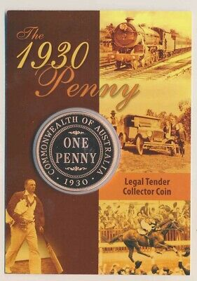 Cook Is: 2007 50c Australia 1930 One Penny in Attractive Presentation Card