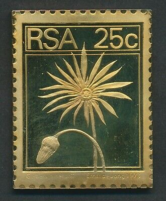 South Africa: 1973 25c Flower - Barberton daisy 30g Gilt Proof 925 Silver Stamp