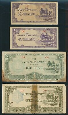 "Oceania: JAPANESE INVASION WWII 1942-3 ½ Shilling to £1 ""RARE SET OF 7"". P1a-R5b"