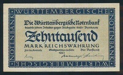 Germany: Weimar WURTTEMBERG 1923 10,000 Mark. PS982 GVF - Cat UNC $47, VF $23+