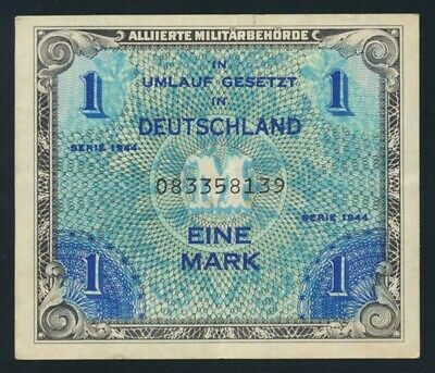 Germany: ALLIED OCCUPATION WWII 1944 1 Mark. Pick 192a GVF - Cat VF $20