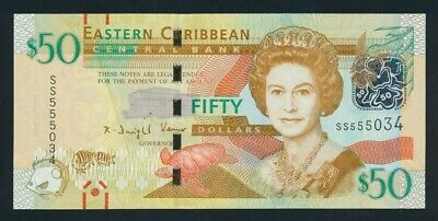 """East Caribbean States: 2015 $50 QEII Sig 2 LUCKY NO """"555"""". Pick 54b UNC Cat $80+"""