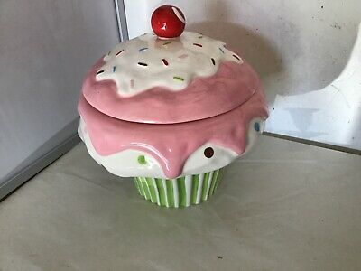 Lovely Large Cupcake Ice Cream Cone Biscuit Barrel - Ceramic - Hand Painted