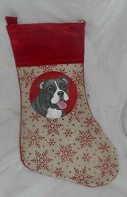 Pit Bull Terrier Dog Dog Hand Painted Christmas Gift Stocking Decoration