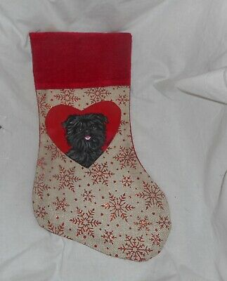 Affenpinscher Dog Hand Painted Christmas Stocking Decoration