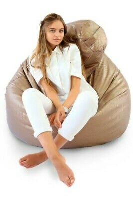 Beanbag Extra Large, Chanel Beige Leather, FAUX LEATHER, Filled