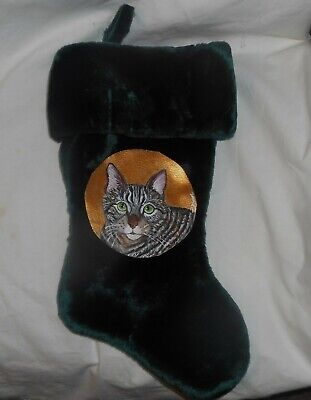 Gray Tabby Domestic Cat Hand Painted Christmas Gift Stocking Decoration