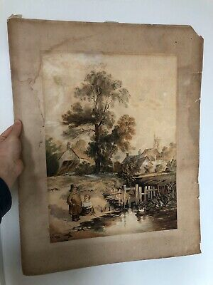 Really Old Landscape Painting Late 19th Century Watercolour Signed P. H Miller?