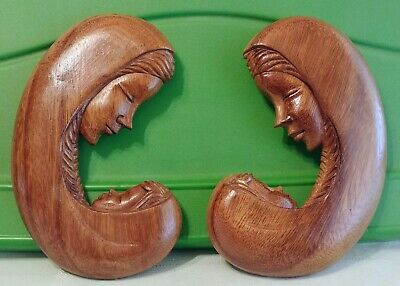 Pair VTG Hand Carved Wooden Plaque Madonna & Child, Mother Baby