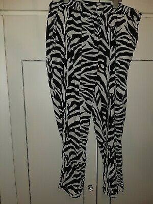 Dorothy Perkins Black & White Loose Trousers With Side Pockets Size 22 100%...