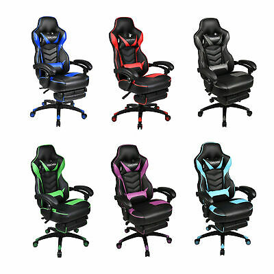 Video Gaming Chair Ergonomic Racing Style Leather Office Swivel Recline Footrest