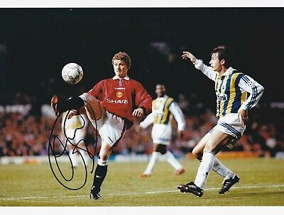 OLE GUNNAR SOLSKJAER SIGNED MANCHESTER UNITED 11x8 PHOTO & EXACT PROOF!