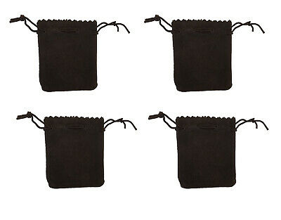 """4 Black Genuine Suede Leather 3"""" Drawstring Pouch Bag Jewelry Coin Renaissance"""