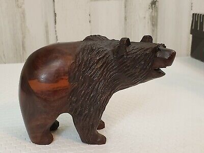 Vintage Hand Carved Mahogany Wood GRIZZLY BEAR Sculpture Unique Heavy Solid
