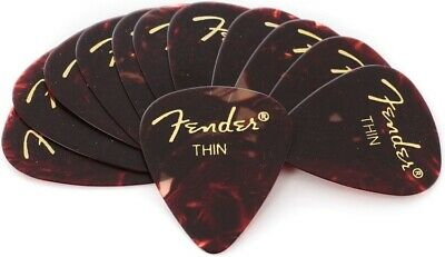 Fender 351 Classic Celluloid Guitar Picks - SHELL, THIN - 12-Pack (1 Dozen)