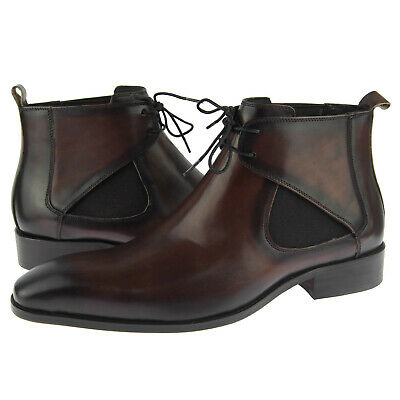Carrucci Lace-up Chelsea / Chukka, Men's Leather Ankle Boots, Chestnut