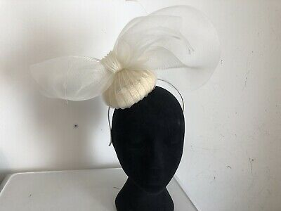 Ivory Off White Bow Fascinator Weddings Christenings Ladies Day Ascot